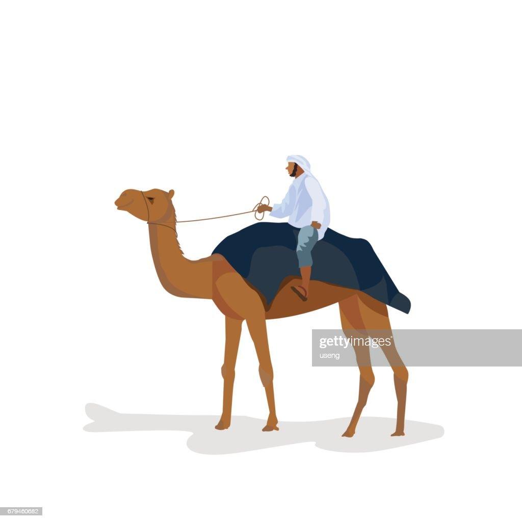 A man travels on a camel