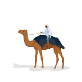 A man travels on a camel