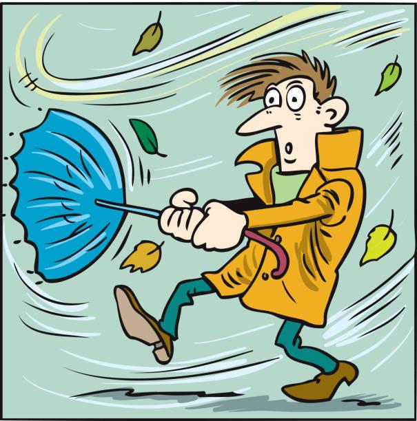 男は強風で傘を持とうとする。 - 強風点のイラスト素材/クリップアート素材/マンガ素材/アイコン素材