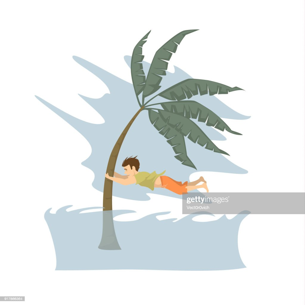 man trying to save life during tsunami graphic, natural disasters concept