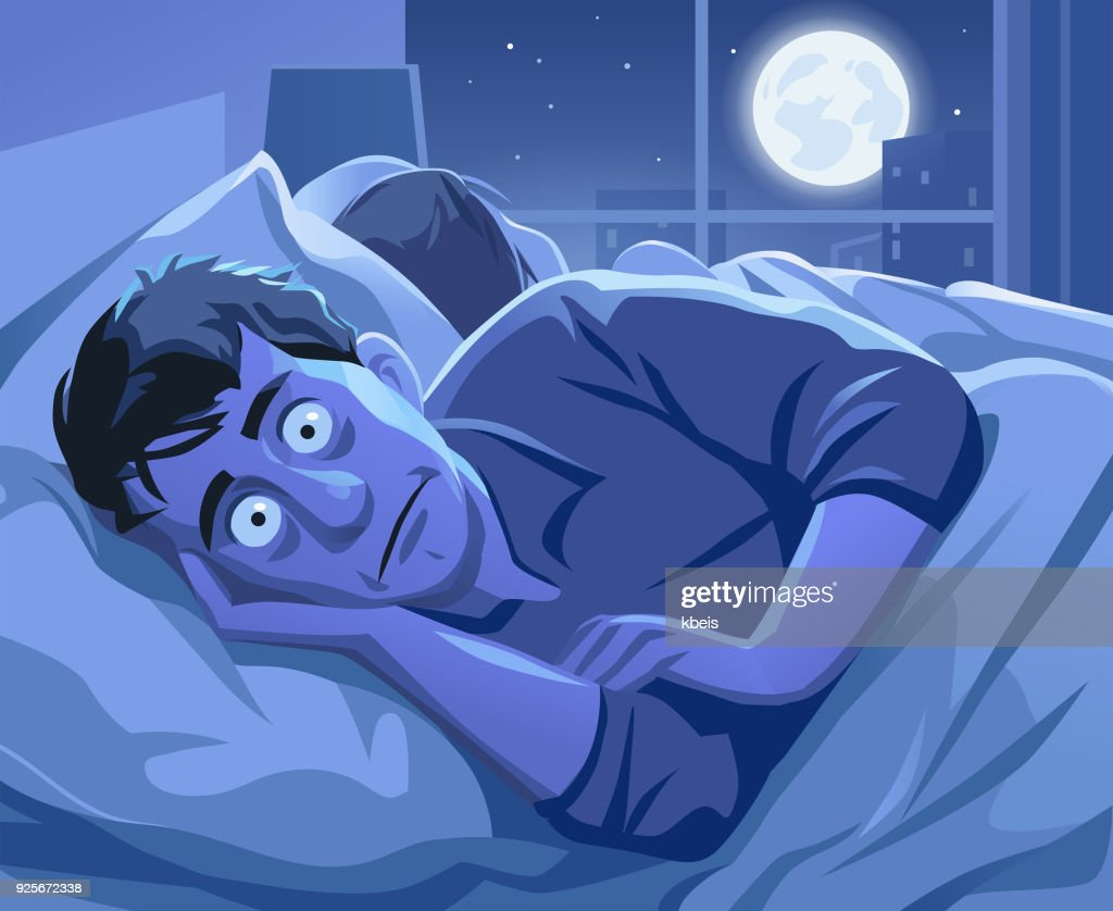 Man Trying To Sleep At Night : stock illustration