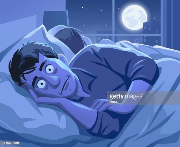 man trying to sleep at night - sleeping stock illustrations