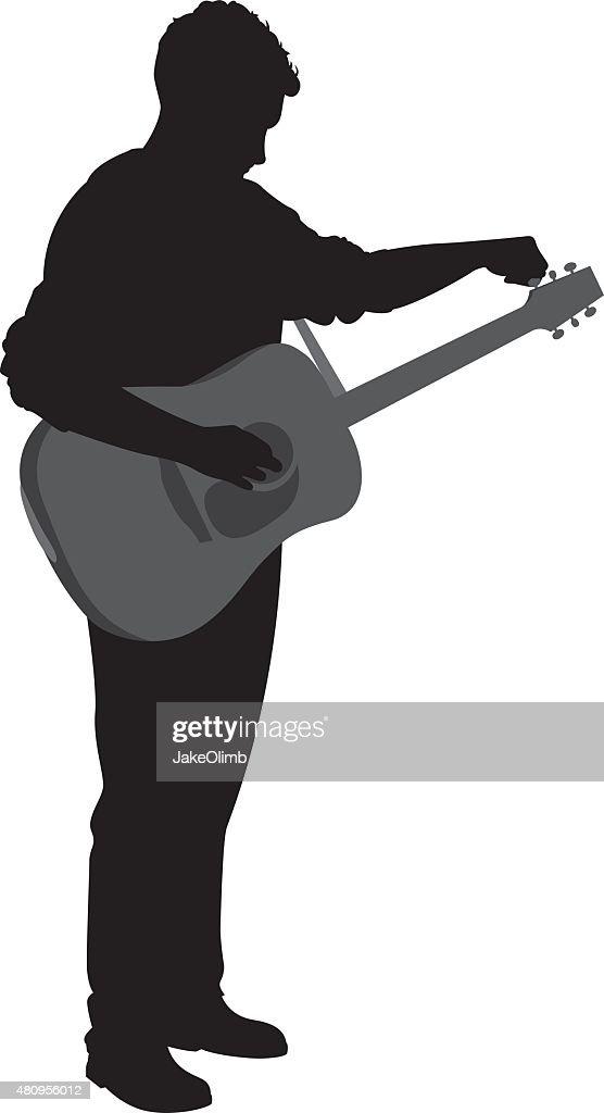 Man Tuning Guitar Silhouette