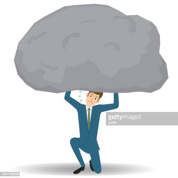 Man under the big rock