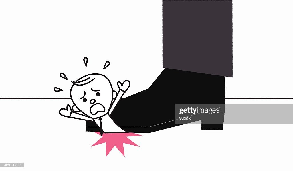 Man under the giant foot : stock illustration