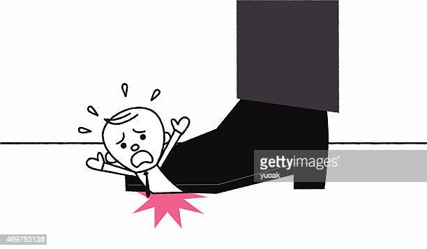 man under the giant foot - office politics stock illustrations, clip art, cartoons, & icons