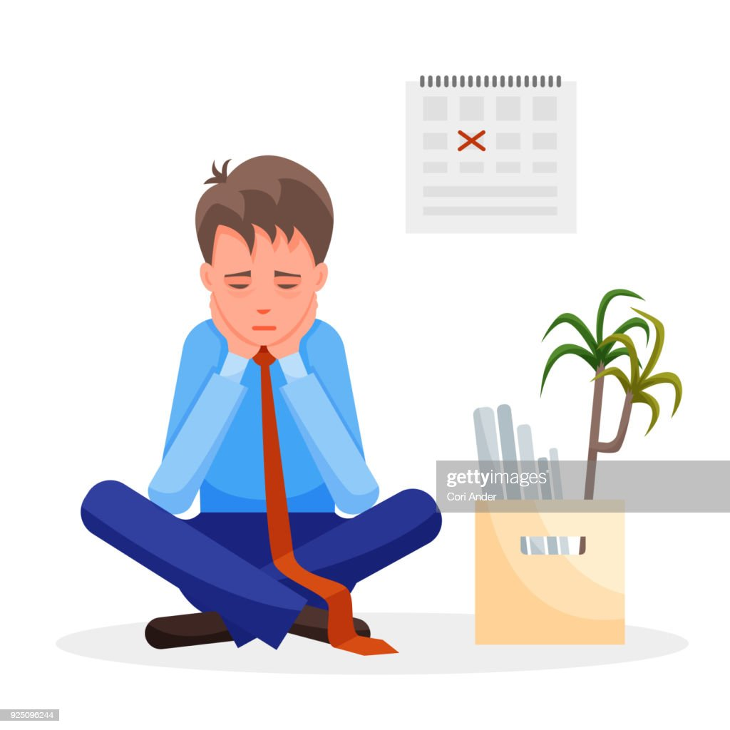 Man upset after loosing his job sits with his staff