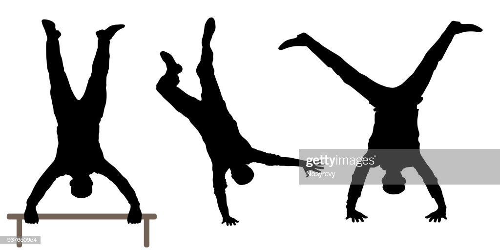Man upside down silhouette