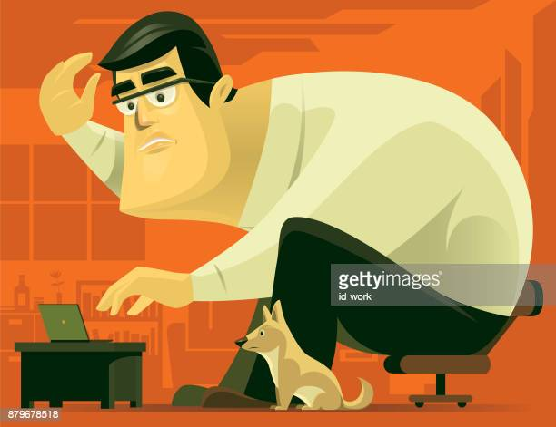 man using computer with dog at home - giant stock illustrations, clip art, cartoons, & icons