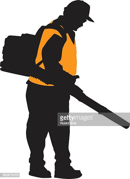 man using leaf blower silhouette - leaf blower stock illustrations