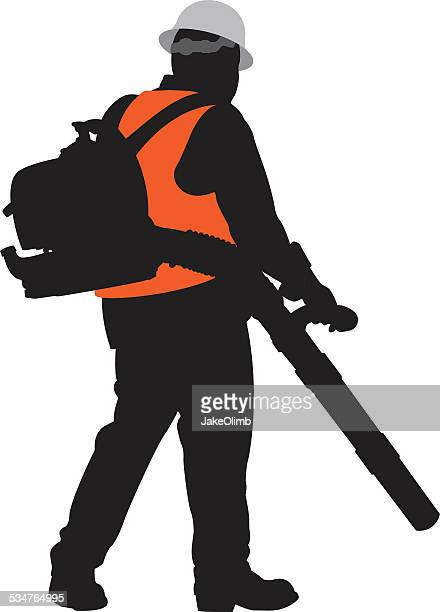 Man Using Leaf Blower Silhouette