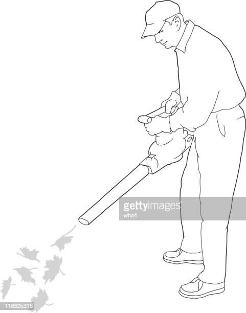 man using leaf blower - leaf blower stock illustrations
