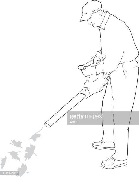 man using leaf blower - leaf blower stock illustrations, clip art, cartoons, & icons