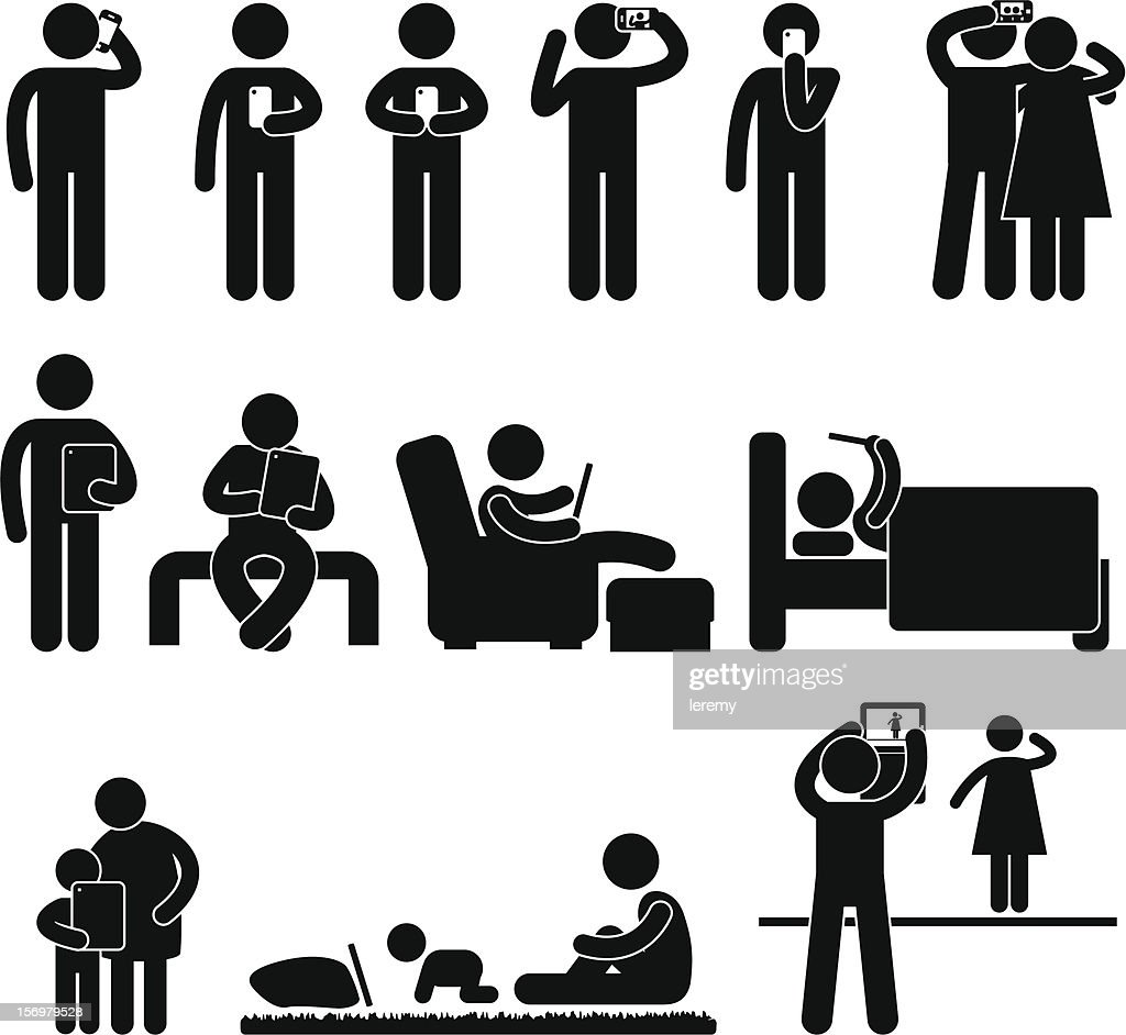 Man Using Smartphone and Tablet Pictogram