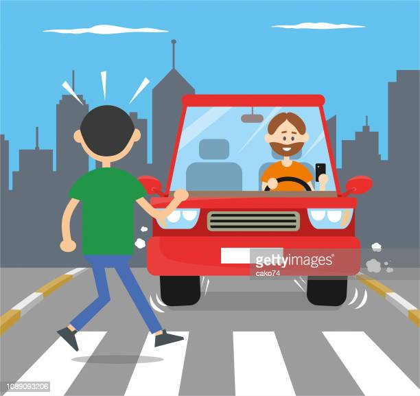 ilustrações, clipart, desenhos animados e ícones de homem usando smartphone durante a condução - rua