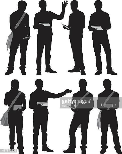 ilustraciones, imágenes clip art, dibujos animados e iconos de stock de hombre usando tecnología - agarrar