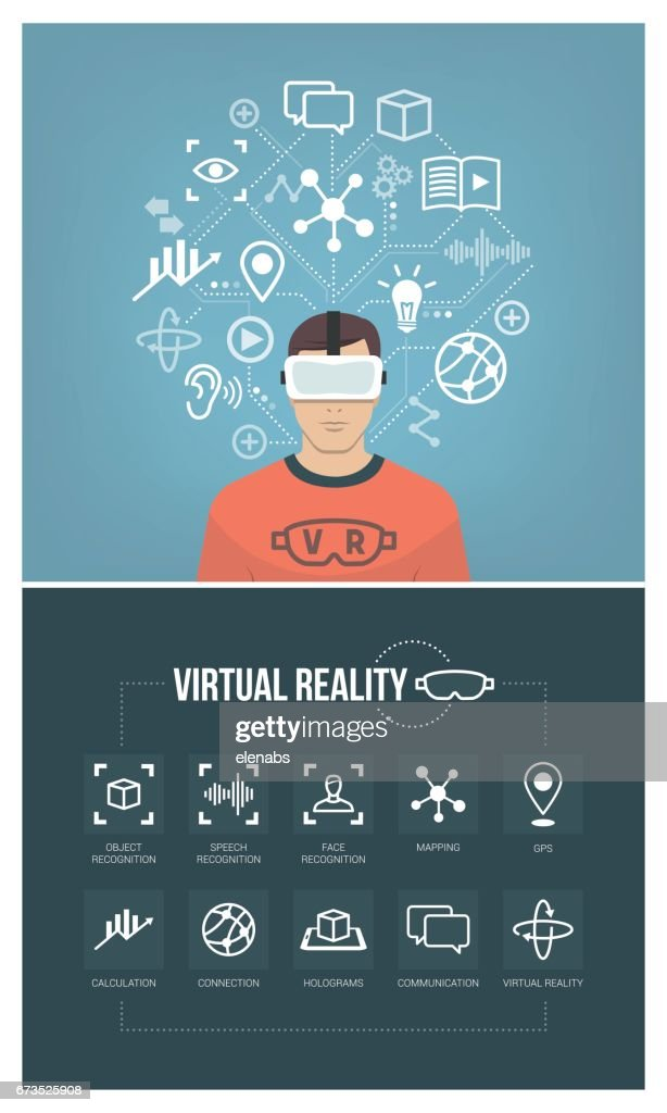 Man using virtual reality headset