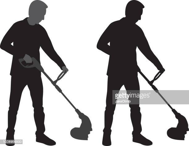 man using weed wacker silhouette - weed wacker stock illustrations, clip art, cartoons, & icons