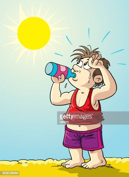 man very hot because increased temperature - heatwave stock illustrations
