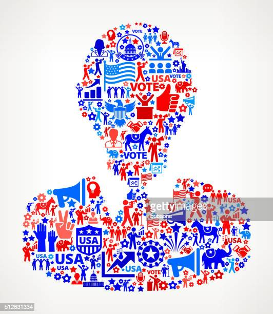 man vote and elections usa patriotic icon pattern - political rally stock illustrations, clip art, cartoons, & icons