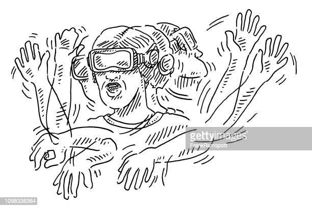 Mann-VR-Brille Geste Bewegung Zeichnung
