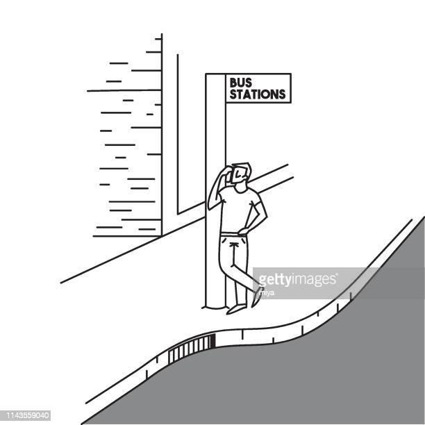 illustrations, cliparts, dessins animés et icônes de homme attendant un bus à l'arrêt de bus-illustration vectorielle - abribus