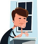 Man waiting next to a window vector illustration cartoon character