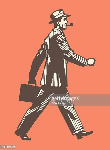 man walking briskly - striding stock illustrations, clip art, cartoons, & icons