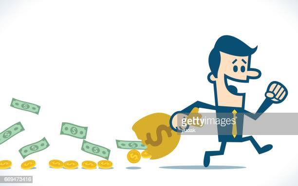 man walking carrying holed money bag - millionnaire stock illustrations, clip art, cartoons, & icons