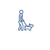 Man walking dog line icon concept. Man walking dog flat  vector symbol, sign, outline illustration.