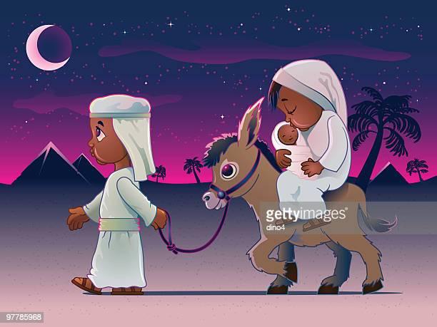 illustrazioni stock, clip art, cartoni animati e icone di tendenza di uomo camminare asino portare moglie e figlio in egitto - san giuseppe
