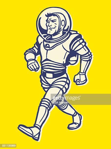 Man Walking in Space Suit