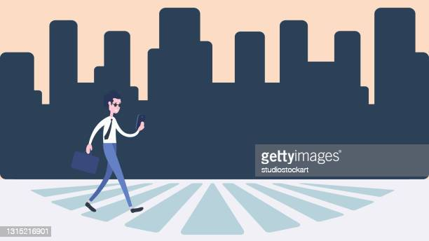 man walking on a pedestrian crossing - zebra crossing stock illustrations
