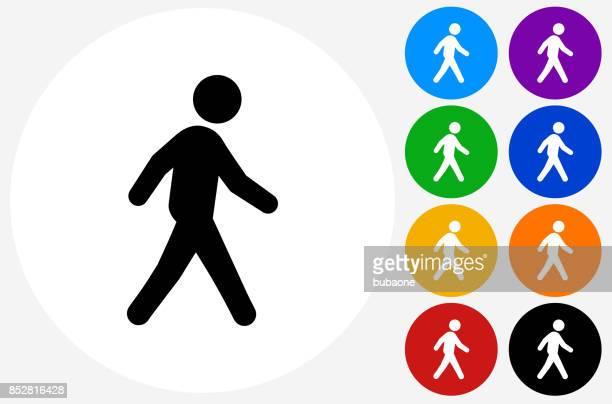 man walking on flat round button - walking stock illustrations