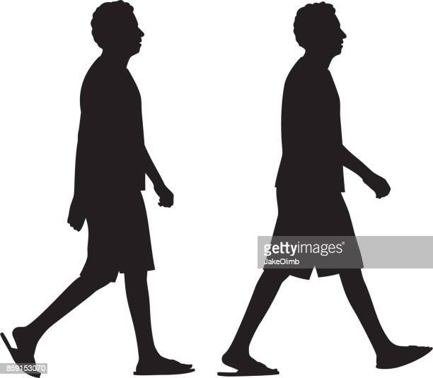 man walking silhouettes - sandal stock illustrations, clip art, cartoons, & icons