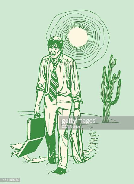 man walking through desert - striding stock illustrations, clip art, cartoons, & icons