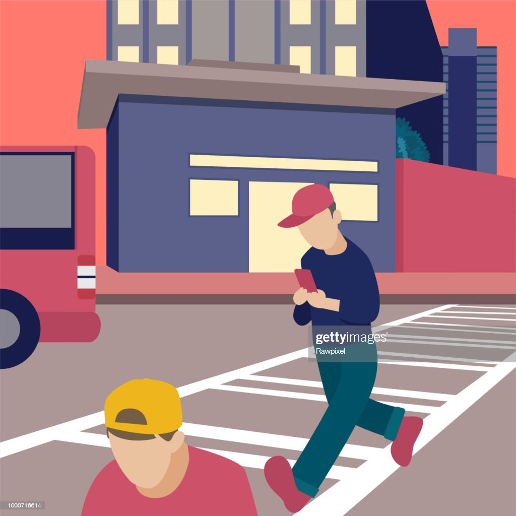 Man walking while on the phone illustration