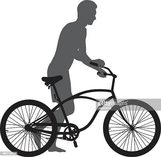 man walking with bike silhouette - next to stock illustrations