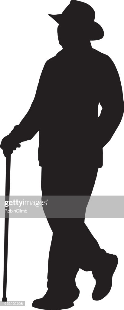 Man Walking With Cane Silhouette. : stock illustration