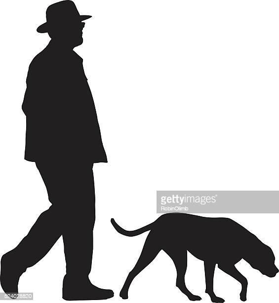 stockillustraties, clipart, cartoons en iconen met man walking with his dog - oudere mannen