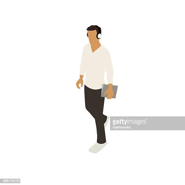 ilustrações de stock, clip art, desenhos animados e ícones de homem a caminhar com notebook ilustração - mathisworks