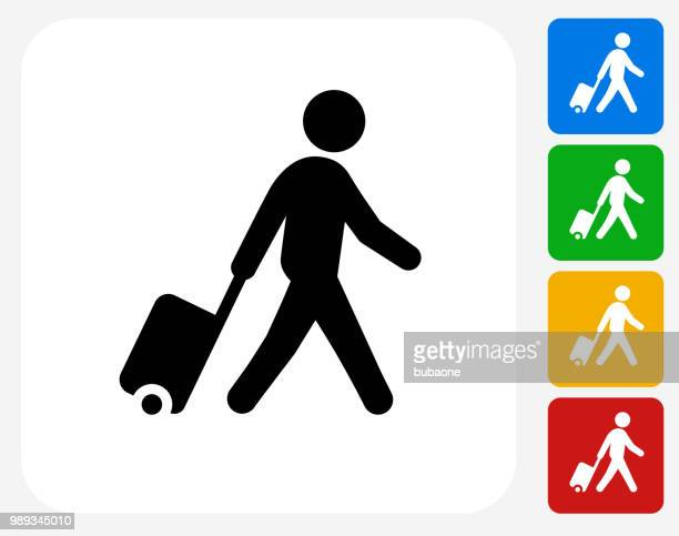 stockillustraties, clipart, cartoons en iconen met man met koffer pictogram lopen - toerist