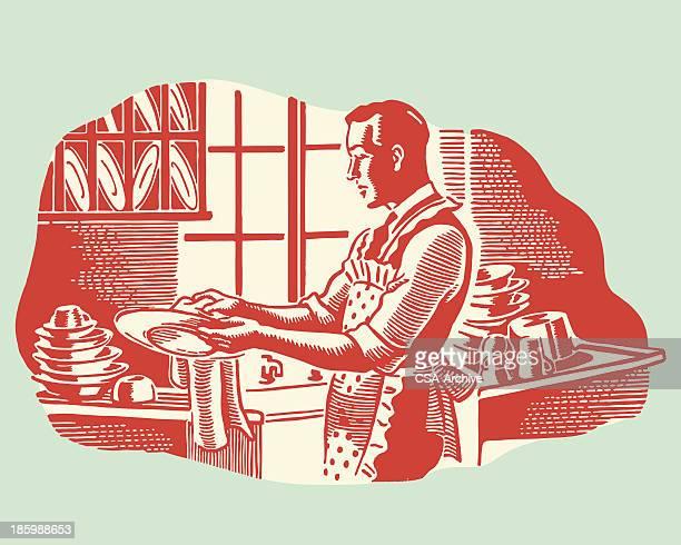 ilustrações, clipart, desenhos animados e ícones de homem lavando pratos - lava
