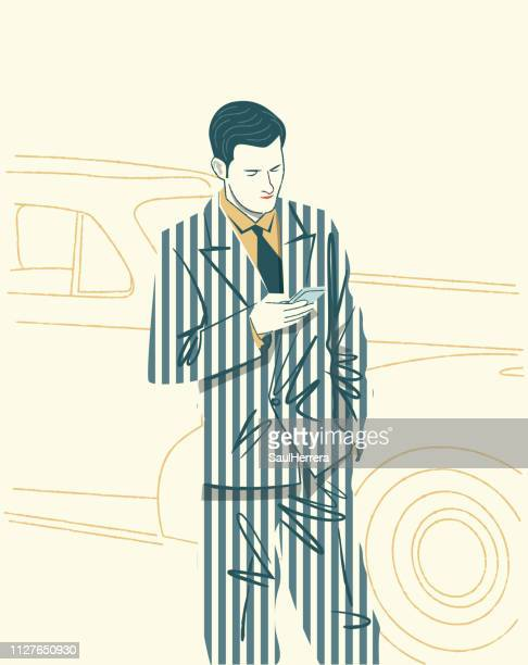 man watching the cell phone - adulto stock illustrations