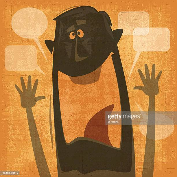 man waving silhouette - laughing stock illustrations, clip art, cartoons, & icons