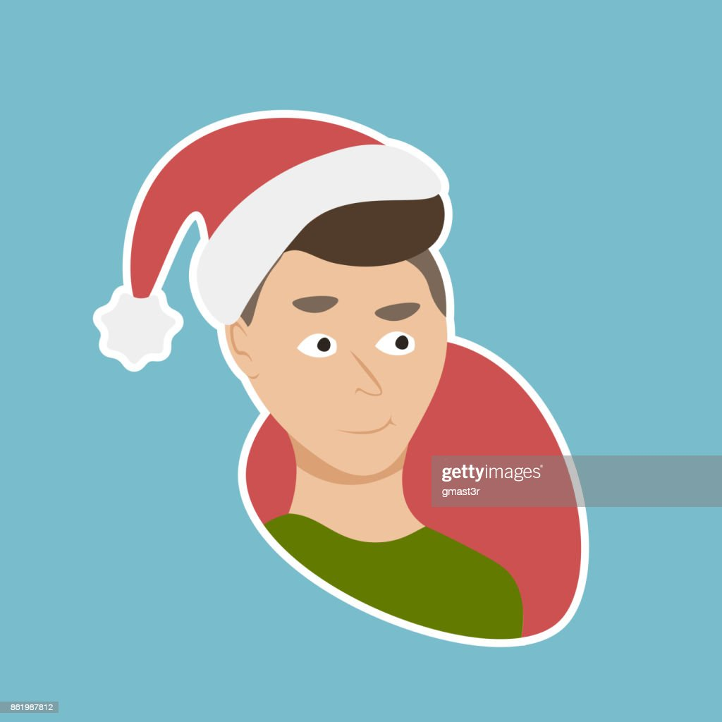 Man Wear Santa Hat Sticker Social Media Network New Year And Christmas Holiday Message Badges Design