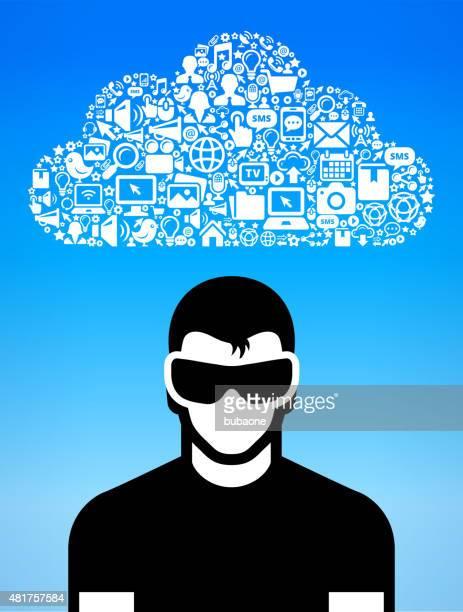 Homem com Óculos de realidade Virtual 3D e ícone conjunto experiência