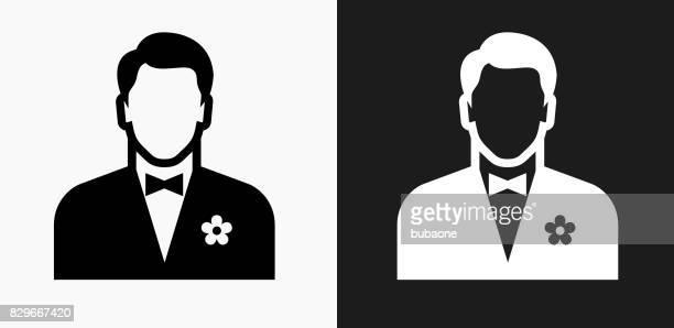 Homme portant une icône de nœud papillon noir et blanc Vector Backgrounds