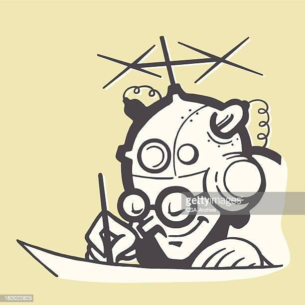 man wearing a scientific helmet - genius stock illustrations