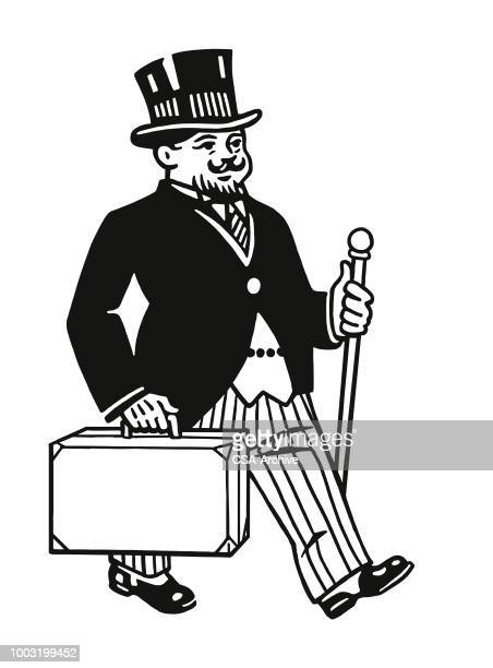 ブリーフケースと歩いてタキシードを着た男 - タキシード点のイラスト素材/クリップアート素材/マンガ素材/アイコン素材